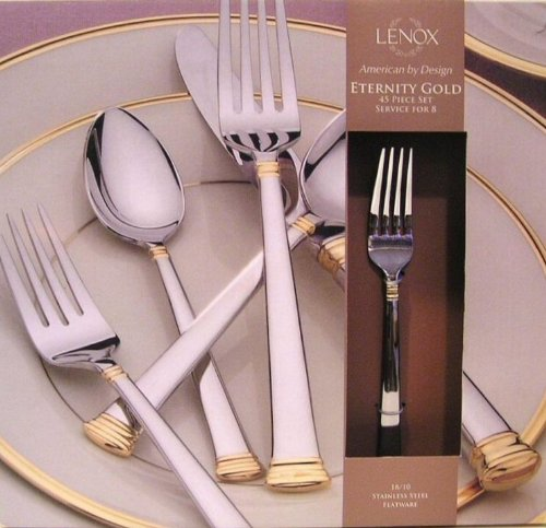 Subtle decorations with gold electroplate and top/bottom handle banding accent flatware with service for 8 plus 5 piece hostess set