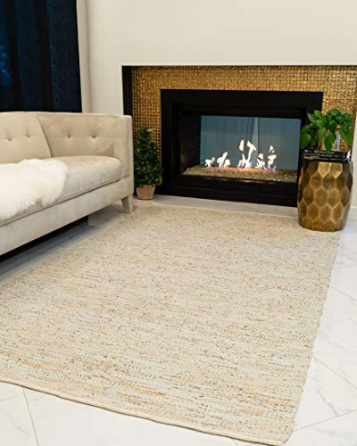 Natural Area Rugs Handmade Reversible Anchor Leather Rectangle Rug (8'X10') Gray