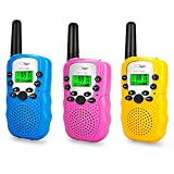 DEDY Outdoor Toys for 3-12 Year Old Boys, 3 Pack Long Range Walkie Talkies for Girls Birthday Gifts for 3-12 Year Old Boys Camping Accessories for Kids Age 3-12 DDUSWT01