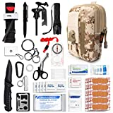 Kitgo Emergency Survival Gear and Medical First Aid Kit - IFAK Outdoor Adventure Camping Hiking Military Essential - Pro Compass, Fire Starter, CAT Tourniquet, Flashlight and More (Desert Digital)