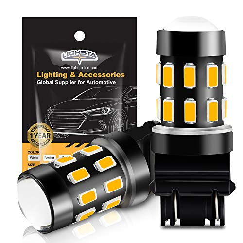 3157 LED Bulbs, LIGHSTA Super Bright 24-SMD 9-30V Non-Polarity 3056 3156 3057 4057 3157K 4157 LED Bulbs with Projector for Turn Signal Blinker Lights, Side Marker Lights, Amber Yellow(Pack of 2)