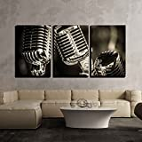 wall26 - 3 Piece Canvas Wall Art - Closeup of Chromed Retro Recording Studio Microphones - Modern Home Decor Stretched and Framed Ready to Hang - 16'x24'x3 Panels