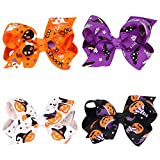 Love Sweety Baby Rose Halloween Headband Infant Pumpkin Hairband Bow Hair Clips (4pc clips)