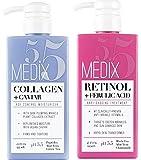 Medix 5.5 Retinol Cream and Collagen Cream Set. Medix 5.5 Retinol Cream with Ferulic Acid targets Crepey Skin, Wrinkles and Sun Damaged Skin. Collagen Cream firms and tightens Sagging Skin. Two 15oz