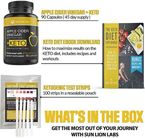 Apple Cider Vinegar Capsules with Mother + Keto Diet Pills, BHB Salts with MCT Oil, Includes 100 Ketone Test Strips, Exogenous Ketones for Instant Keto, Use Fat for Energy, Boost Metabolism Men, Women 5