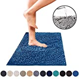 DEARTOWN Non-Slip Shaggy Bathroom Rug,Soft Microfibers Chenille Bath Mat with Water Absorbent, Machine Washable(Blue,27.5x47 Inches)