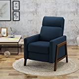 Christopher Knight Home 304577 Chris Recliner, Navy Blue + Espresso