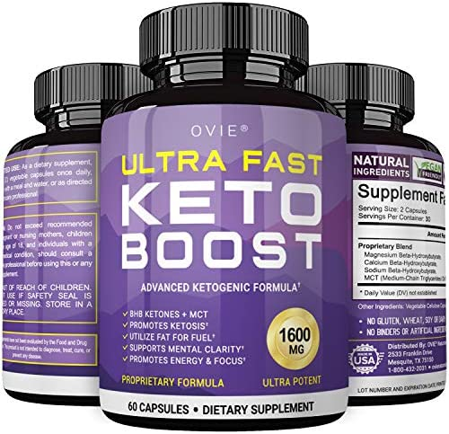 Ultra Fast Pure Keto Boost 1600mg - Advanced Clinically-researched Pure BHB Salts (beta hydroxybutyrate) with MCT Oil Keto Diet Pills - Best Ketosis Ketogenic Supplement - 60 Capsules; 30 Day Supply 3