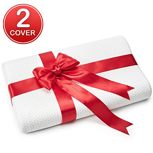 Small Memory Foam Pillow Use as Ergonomic Contoured Cervical Orthopedic pillow for Back and Side Sleepers – Thin Contour Pillow Dressed in a Red Bow and has Extra Pillow Case (19,5 x 11 x 3,5 inch)