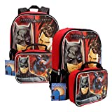 DC Comics Batman v Superman Backpack w/ Detachable Lunch Bag Set - Red/Black
