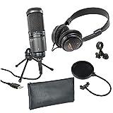 Audio Technica AT2020USB+ Condenser Microphone + M2X Headphones + Mic Tripod