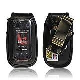 Turtleback Heavy Duty Black Leather for Motorola Barrage V860 Flip Phone Case with Rotating Belt Clip - Made in USA