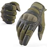 AXBXCX Tactical Gloves Military Motorcycle Touch Screen Plastic Hard Knuckle Full Finger Outdoor Gloves for Combat Training Army Shooting Motorbike Hunting Airsoft Paintball Green S