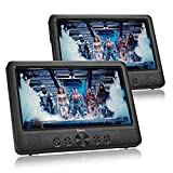 IMPECCA DVD Player, Portable 10.1' Dual Screen DVD Player for Car Headrest or Home with USB/SD Card Reader, Built in Rechargeable Battery, Last Memory Function, Two Screens Play One Movie