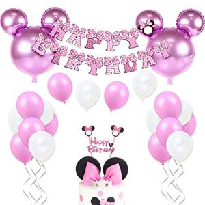 Birthday Decorations Set for Pink Minnie Theme Party Supplies with Head Balloons, Happy Birthday Garland and Cake Topper 51pO5X3WMBL
