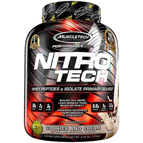 MuscleTech NitroTech Protein Powder Whey Protein with Whey Isolate, Cookies and Cream, 4 lbs