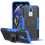 Numy LG K40 Case,K12 Plus/X4 2019/Harmony 3/Solo LTE/LMX420 Case,Dual Layer Shockproof,W HD Screen Protector,Highly Protective w Kickstand Hard PC & Soft TPU Phone Case,Attractive Tire Appearance-Blue