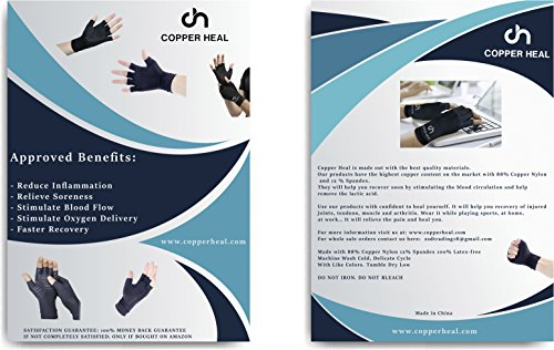 COPPER HEAL Arthritis Compression Gloves – Best Medical Copper Glove Guaranteed to Work for Rheumatoid Arthritis, Carpal Tunnel, RSI Osteoarthritis & Tendonitis Open in Fingers Fingerless Fit Size M deal 50% off 51pQflAj 2B9L