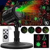 Christmas Laser Lights, Projector for Outdoor Garden Decorations - Waterproof & Timer Preset, Red & Green Slide Show in Lawn, Landscape, Holiday Party and Houses