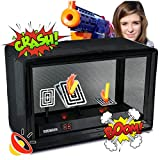 Digital Shooting Target for Nerf N-Strike Elite/Mega/Rival or Any Foam/Dart Blaster Toy Gun, 3 Automatic Reset Electric Targets with Support Cage & Net, Great to Practice Your Shooting