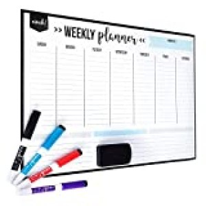 """Magnetic Dry Erase Weekly Calendar for Fridge: with Stain Resistant Technology - 17x12"""" - 4 Fine Tip Markers and Large Eraser with Magnets - Whiteboard Organizer Planner: Refrigerator White Board"""
