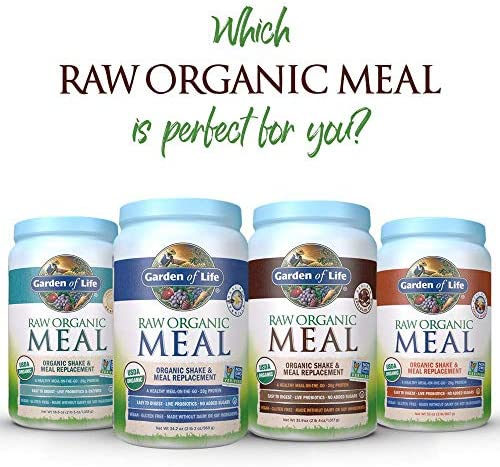 Garden of Life Raw Organic Meal Replacement Powder - Chocolate, 14 Servings, 20g Plant Based Protein Powder, Superfoods, Greens Vitamins Minerals Probiotics Enzymes, All-in-One Meal Replacement Shake 10
