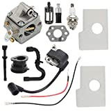 Hayskill MS170 Carburetor with Ignition Coil Air Fuel Filter Tune Up Kit for Stihl 017 018 MS180 MS180C MS170C Chainsaw Carb Replace C1Q-S57A C1Q-S57B 1130 120 0603