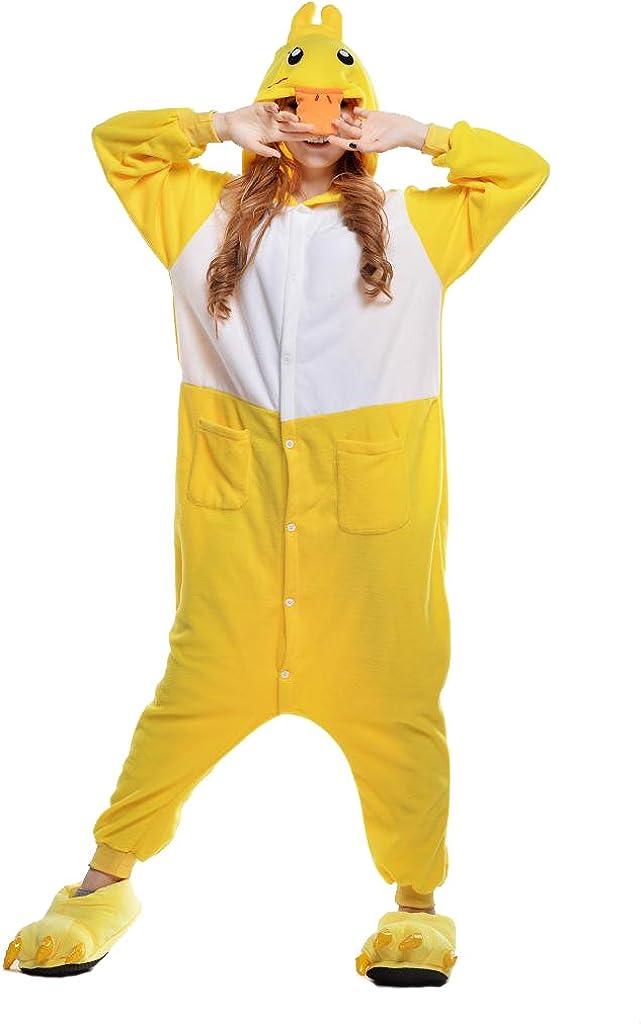 NEWCOSPLAY Unisex Adult Animal Yellow Duck Pajamas Halloween Costume