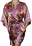 Women's Satin Floral Kimono Short Bridesmaid Robe W/Pockets - Mauve XL