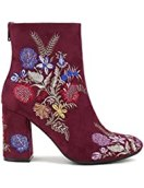 Springfield' Floral Embroidered Chunky Heel Ankle Booties