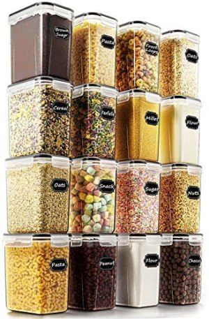 Airtight Food Storage Containers – Wildone Cereal & Dry Food Storage Container Set of 16 [54oz /1.6L] for Sugar, Flour and Baking Supplies, Leak-proof & BPA Free, with 20 Labels & 1 Marker