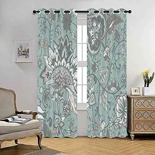 Gray Green Paisley Curtains