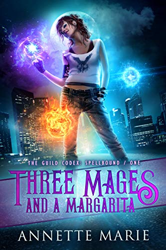 book cover witch in front of cityscape three mages and a margarita