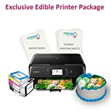 Icinginks Exclusive Edible Printer Package - Canon Edible Wireless Image Printer, 10 Flexible Frosting Sheets, 100 Wafer Papers & Set of 5 Edible Ink Cartridges