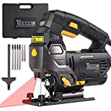 Jigsaw, TECCPO Professional Jig Saw with Laser Guide, 6pcs Blades, Carrying Case, 78.74 Inches Cord, Scale Ruler, Bevel Cutting Angle(-45°-45°), Variable Speed Dial, 3000SPM, Pure Copper Motor - TAJS0