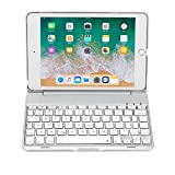 iPad Mini 4 Keyboard (NOT for Mini 5th Generation 2019) - 135 Degree Flip - 7 Color Backlit - Auto Sleep/Wake - Ultra-Thin Keyboard Case for Apple iPad Mini 4 (2015) - Silver