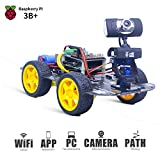 XiaoR GEEK DS Wireless WiFi Robot Car Kit for Raspberry pi 3B+, Remote Control Hd Camera 8G SD Card Robotics Smart Educational Toy Controlled by iOS Android App PC Software with Detailed Instructions