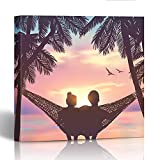 Emvency Painting Wall Art Canvas Print Square 12x12 Inches Couple in Love at The Beach on Hammock Inspiration for Wedding Date Romantic Decoration Wooden Frame