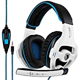 SADES 810 Gaming Headset 3.5mm Playstation 4 Xbox one Gaming Headphones with Mic Volume Control for PC MAC PS4 New Xbox one-White