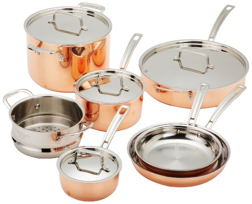 Cuisinart CTP-11AM Copper Tri-Ply Stainless Steel 11-Piece Cookware...