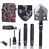 Otplore Folding Tactical Camping Shovel - Heavy Duty Compact Multitool Military Survival Shovel for Camping Backpacking Hiking Car Emergency, 32'