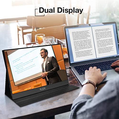 "Portable Monitor - AUZAI 15.6"" Ultra Slim Portable Computer Monitor, FHD IPS Panel & USB-C HDMI, 100% sRGB HDR Monitor, Eye Saver & Flicker Free for Desktop Laptop PC Smartphone Xbox PS4 13"