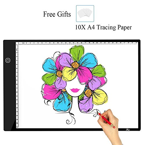 A4 Tracing Light Box,Portable LED Light Table Tracer Board Dimmable Brightness Artcraft Tracing Light Pad For Artists Drawing Sketching Tattoo Animation Designing With 10 Paper