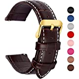 Fullmosa 7 Colors for Quick Release Leather Watch Band, Bamboo Series Genuine Leather Replacement Watch Strap with Stainless Metal Clasp 22mm Dark Brown-GD