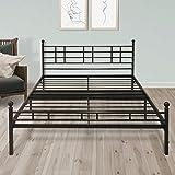 Best Price Mattress BP-ESFBF-Q 12' Metal Platform Bed Frame [Model H] Easy Setup w/Headboard (No Box Spring Needed) Queen Black