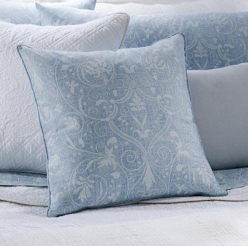 Lauren by Ralph Lauren Spring Hill Bedding Blue Floral Scroll 18 x 18 in. Throw Pillow
