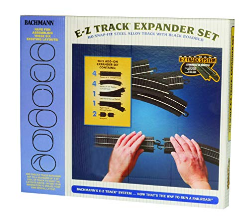 Bachmann-Trains-Snap-Fit-E-Z-TRACK-LAYOUT-EXPANDER-SET-STEEL-ALLOY-Rail-With-Black-Roadbed-HO-Scale