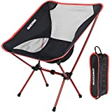 Ultralight Folding Camping Chair, Portable Compact for Outdoor Camp, Travel, Beach, Picnic, Festival, Hiking, Lightweight Backpacking (Red)