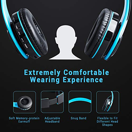 Maono AU-D422L Over-Ear Bluetooth Wireless Headphones with Built in Mic (Blue and Black) 4