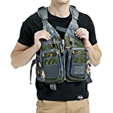 Mounteen Fly Fishing Vest Pack Adjustable Size for Men and Women with Breathable Mesh, Trout Fishing Gear, for Outdoors Stream Fishing (Army Green)